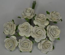 1.5cm LIGHT GREY Mulberry Paper Roses